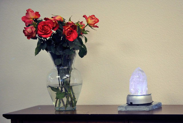 A bouquet of flowers and a lighted crystal decorate the sanctuary during the worship service at Unity Center in the Valley on Sunday, May 11, 2014. The weekly service features music, a spiritual l ...