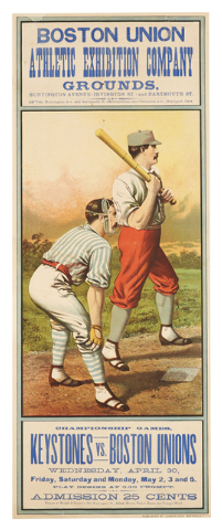 Cowles Syndicate Inc.  A lithographed poster showing two baseball players competing in a championship game in Boston in 1884 sold for $15,000 at an April 2014 Bonhams auction in New York City. Spo ...