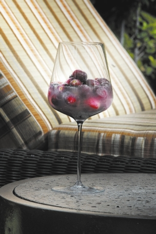 Sangria from Julian Serrano's is seen at the pool at Aria. Sangria originated in Spain, which makes it a natural accompaniment to tapas, whether they be riffs on the traditional dishes like many ...