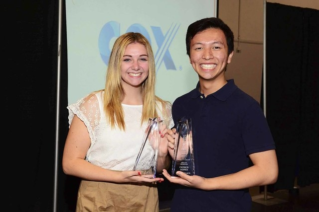 Ryan Marren, left, took first place in the Applied Science category, while Patrick Gomez took first place in the Health Science category at the Cox 2014 Stars of Science competition. Both are stud ...
