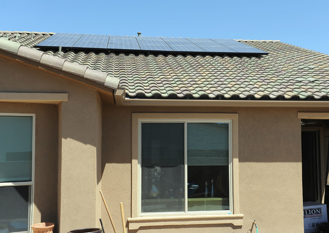 Solar panels are seen on the roof at the home of Ilene and Bill Graney in North Las Vegas, Wednesday, April 30, 2014. The panels were placed on the roof by Solar City.(Jerry Henkel/Las Vegas Revie ...