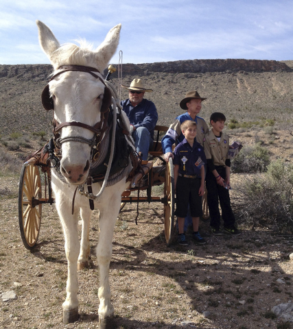 Jim Sage of the Backcountry Horsemen prepares to drive his buckboard loaded with Old Spanish Trail markers near Blue Diamond on Saturday, March 29, 2014. Standing next to him are Ashley Hall and H ...