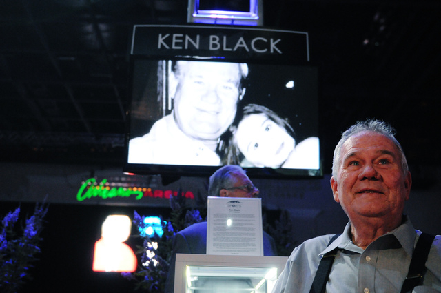 Drag racing champion Ken Black is interviewed during the 2014 class of the Southern Nevada Sports Hall of Fame induction ceremony at the Orleans Arena in Las Vegas Friday, May 30, 2014. (Erik Verd ...
