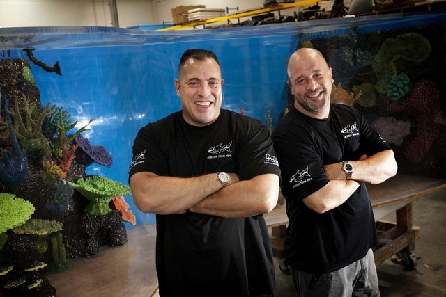 """Wayde King, left, and Brett Raymer, owners of Acrylic Tank Manufacturing, star in Animal Planet's """"Tanked.""""  (Jessica Ebelhar/Las Vegas Review-Journal)"""