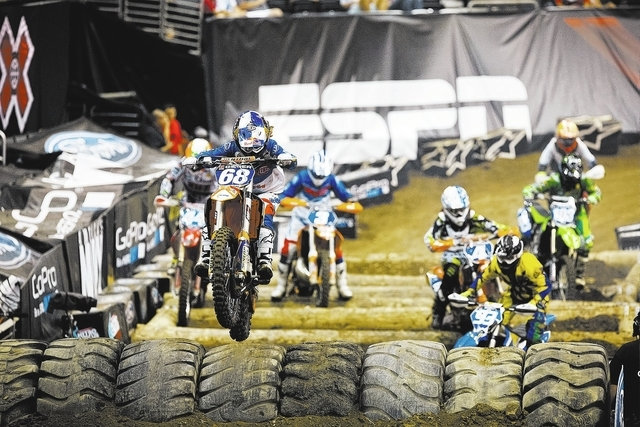 Tarah Gieger races during the X Games on Aug. 4 at Staples Center in Los Angeles. She is slated to compete in Las Vegas in the AMA EnduroCross season opener at 8 p.m. today at Orleans Arena. (SPEC ...