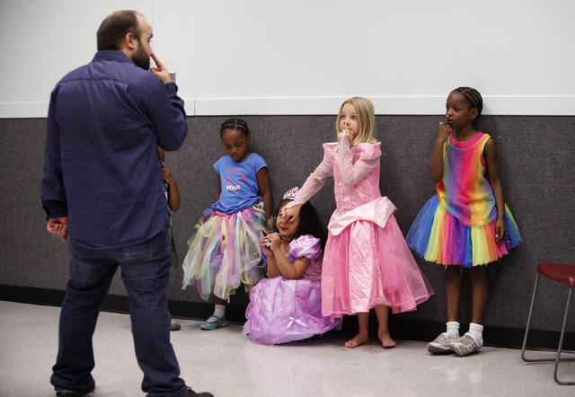 John Tomasello, left, teaches a storybook theater class at the Black Mountain Recreation Center in Henderson, Nev. Saturday, April 19, 2014. (John Locher/Las Vegas Review-Journal)