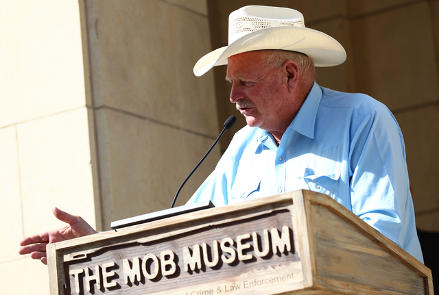 Clark County Commissioner and LVCVA Chairman Tom Collins speaks during the inauguration of a new exhibition dedicated to former Las Vegas sheriff Ralph Lamb as part of a National Tourism Week Rall ...