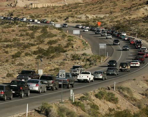 Cars are backed up in stop-and-go traffic along Highway 93 between the Hoover Dam and Boulder City. (JOHN LOCHER/REVIEW-JOURNA FileL)