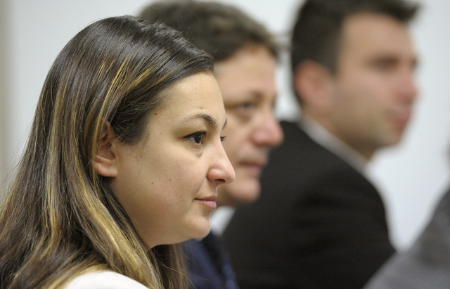 Judge Pinar Ergut, left, listens to discussion at a Review-Journal editorial board meeting on Friday, May 2, 2014. The judge is part of an Open World Judicial Delegation from Turkey, visiting Las  ...