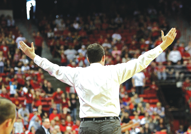 UNLV head coach Dave Rice throws his hands up after his team missed a shot against Air Force at the Thomas & Mack in Las Vegas on Saturday, Feb. 25, 2012. (John Locher/Las Vegas Review-Journal)