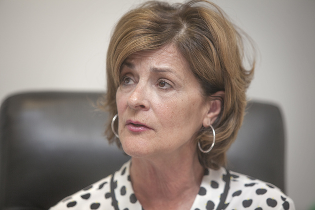 UNLV Director of Athletics Tina Kunzer-Murphy  during a press conference at Thomas and Mack on Thursday, April 10, 2014. The school announced today that it's  university's  football program will n ...
