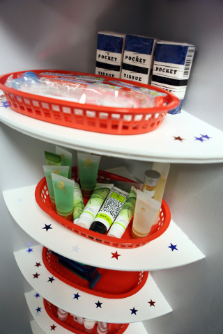 Personal hygiene items are set out for visitors at the new Terminal 3 USO canteen at McCarran International Airport Wednesday, May 7, 2014, in Las Vegas. Terminal 3 USO canteen will be a convenien ...