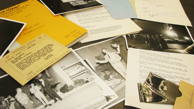 """UNLV Special Collections has a thick folder of material related to the filming of """"Viva Las Vegas"""" more than fifty years ago, including photos, telegrams and a copy of the script.  (F. Andrew Tayl ..."""