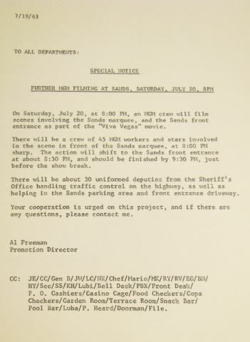 """UNLV Special Collections has a thick folder of material related to the filming of """"Viva Las Vegas"""" more than fifty years ago, including photos, telegrams and a copy of the script. An int ..."""