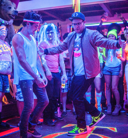 "Teddy (Zac Efron) dances off against Mac (Seth Rogen) in ""Neighbors,"" a comedy about a young couple suffering from arrested development who are forced to live next to a fraternity house after  ..."