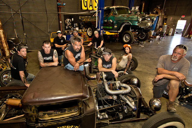 """Vegas Rat Rods"" cast (left to right): Barber, Mackay, Dave, Kyle, Travis, Steve, Justin, Twiggy and Dan. (Courtesy Discovery Channel)"