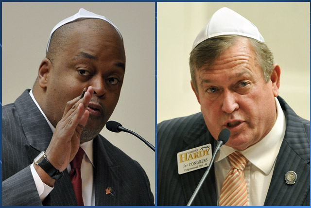 Congressional candidates Niger Innis, left, and Assemblyman Cresent Hardy, R-Mesquite, right, are shown during a debate at Temple Beth Sholom on Tuesday. A new poll shows that Innis has more than  ...