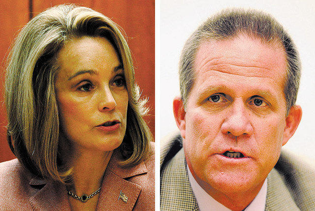 GOP lieutenant governor candidates Sue Lowden and Mark Hutchison. (Las Vegas Review-Journal file)