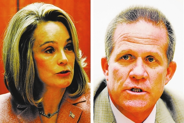 las vegas review-journal file PHOTOS Sue Lowden and Mark Hutchison.