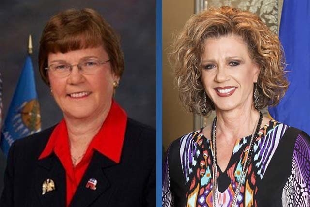 Carolyn McLarty, left, Republican National Committeewoman for Oklahoma, and Diana Orrock, right, RNC Committeewoman for Nevada. (File photos)