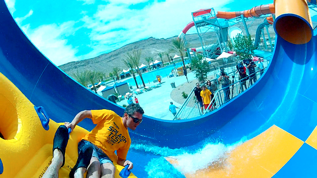 Wet 'n' Wild staff members serve as Splash Test Dummies as they try out the new Tornado water slide at the Las Vegas Wet 'n' Wild Water Park on May 23, 2014. (Michael Quine/Las Vegas Review-Journal)