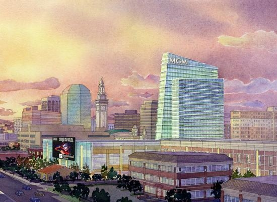 A rendering of MGM Resorts International's proposed casino in Springfield, Mass., is shown here. The state's highest court said Tuesday voters can ultimately decide if  Massachusetts can have ga ...