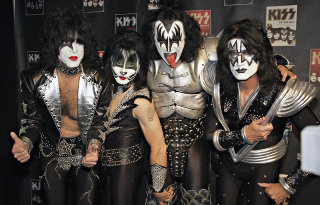 Members of Kiss, from left, Paul Stanley, Eric Singer, Gene Simmons and Tommy Thayer, poses for a photograph. (AP File Photo/Volker Wiciok)