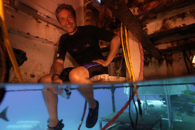 This 2012 photo provided by Mission 31, Fabien Cousteau sits inside Aquarius Reef Base in the Florida Keys National Marine Sanctuary. Beginning Sunday, June 1, 2014, the filmmaker and Jacques Cous ...