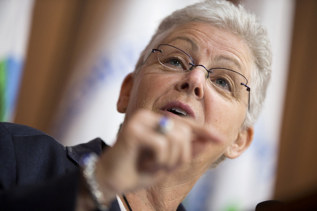Environmental Protection Agency Administrator Gina McCarthy gestures during an announcement of a plan to cut carbon dioxide emissions from power plants by 30 percent by 2030, Monday, June 2, 2014, ...