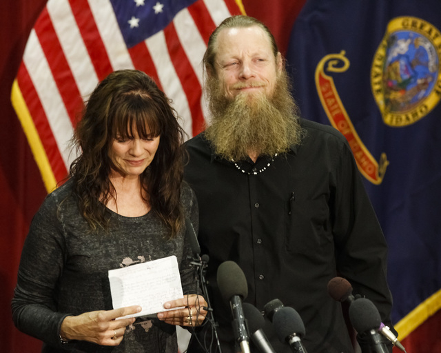 Jani and Bob Bergdahl speak to the media during a news conference at Gowen Field in Boise, Idaho, on Sunday, June 1, 2014, regarding their son, Army Sgt. Bowe Bergdahl. Sgt. Bergdahl can expect a  ...