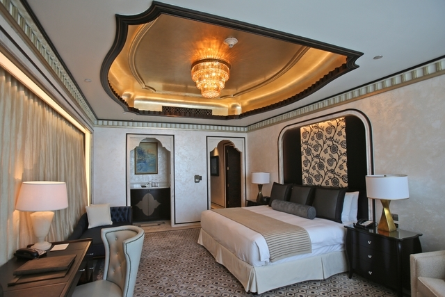 This May 19, 2014 photo shows one of the three bedrooms in the Abu Dhabi Suite at the St. Regis in Abu Dhabi, United Arab Emirates. The nearly 24,000 square foot two-story suite, which sells for a ...