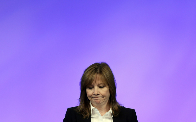 General Motors CEO Mary Barra addresses employees at the automaker's vehicle engineering center in Warren, Mich., Thursday, June 5, 2014. Barra said 15 employees have been fired and five others ha ...