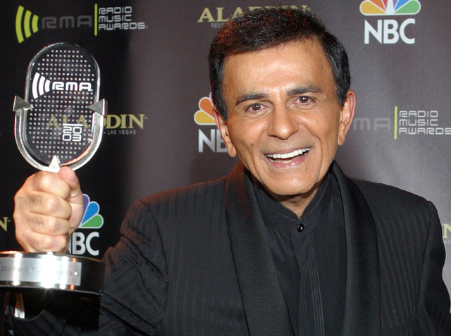 Casey Kasem poses for photographers after receiving the Radio Icon award during The 2003 Radio Music Awards in Las Vegas. (AP Photo/Eric Jamison, File)