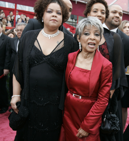"Ruby Dee, right, nominated for an Oscar for best actress in a supporting role for her work in ""American Gangster,"" and guest arrive for the 80th Academy Awards, in Los Angeles on Feb. 24, 2008. De ..."