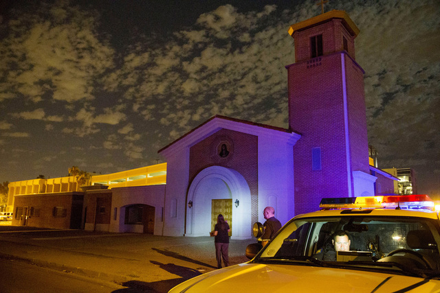 Phoenix Police investigate a shooting at Mater Misericordiae (Mother of Mercy) Mission on Wednesday, June 11, 2014 in Phoenix. Police say one priest was shot to death and another is injured after  ...