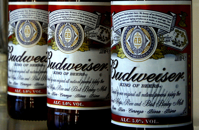 This Jan. 27, 2009 file photo shows bottles of Budweiser beer at the Stag Brewery in London. Anheuser-Busch unveiled the ingredients of Budweiser and Bud Light for the first time Thursday, a day a ...
