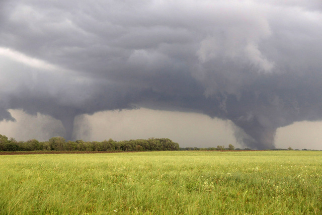 Two tornados approach Pilger, Neb., Monday June 16, 2014. The National Weather Service said at least two twisters touched down within roughly a mile of each other Monday in northeast Nebraska. (AP ...