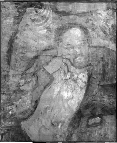 "This undated handout image provided by The Phillips Collection shows an infrared image of Pablo Picassos ""The Blue Room,"" painted in 1901. Scientists and art experts have found a hidden  ..."