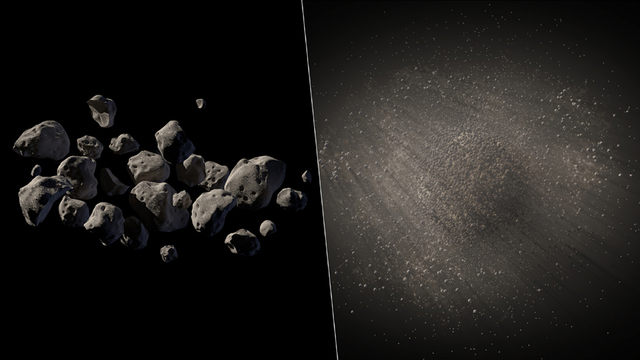 This undated handout two-picture combo of artist conceptions provided by NASA/JPL Caltech shows what NASA says are good candidates for a mission to capture an asteroid, haul it to the moon for ast ...
