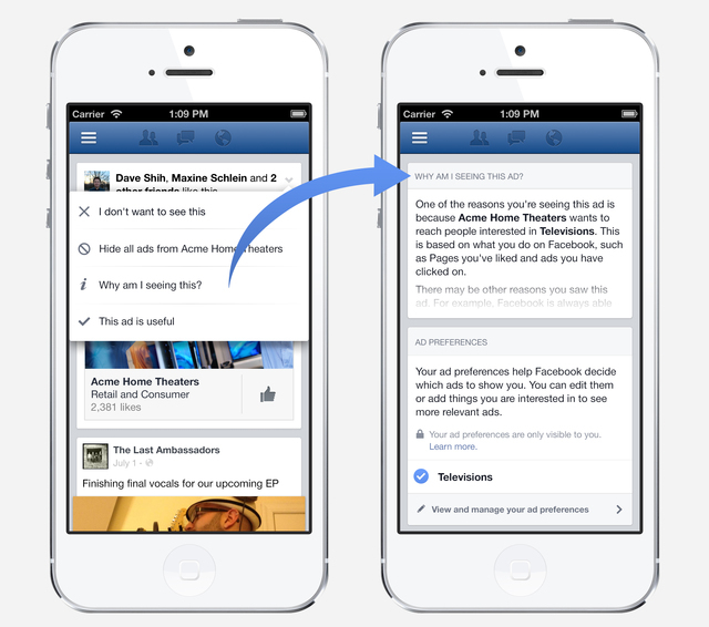 This image provided by Facebook features ad preferences, a new tool accessible from every ad on Facebook that explains why youre seeing a specific ad and lets you add and remove interests that the ...