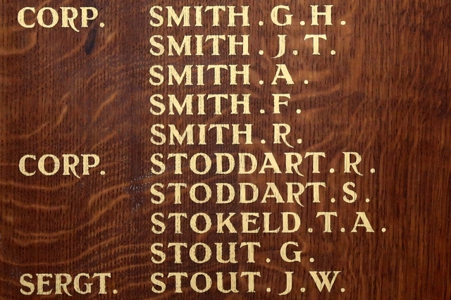 This May 7, 2014 photo shows, the names of the five Smith brothers, who were killed in action in World War I, engraved on a plaque in St Mary's Church in Barnard Castle, England. (AP Photo/Scott H ...