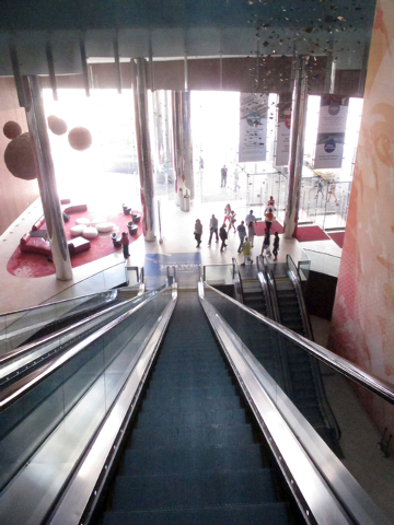 This May 30, 2014 photo shows the giant escalator that patrons entering from the Boardwalk must take to get to the casino floor of Revel Casino Hotel in Atlantic City N.J. The $2.4 billion casino  ...