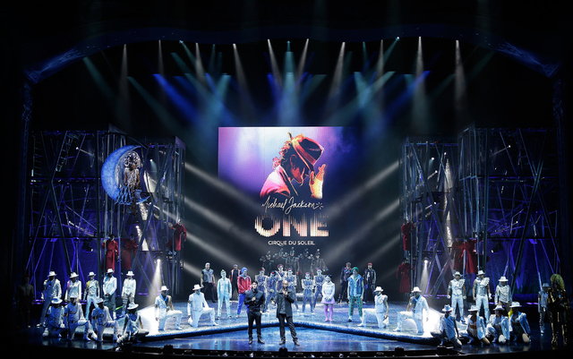 This May 7, 2013 publicity file photo provided by Cirque du Soleil shows Director of Creation, Welby Altidor, center left, and Writer/Director Jamie King, center right, introducing a sneak peek of ...