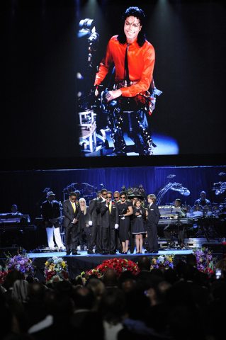 In this July 7, 2009 file photo, Marlon Jackson speaks on stage with the Jackson family during the memorial service for Michael Jackson at the Staples Center in Los Angeles. Five years after Jacks ...