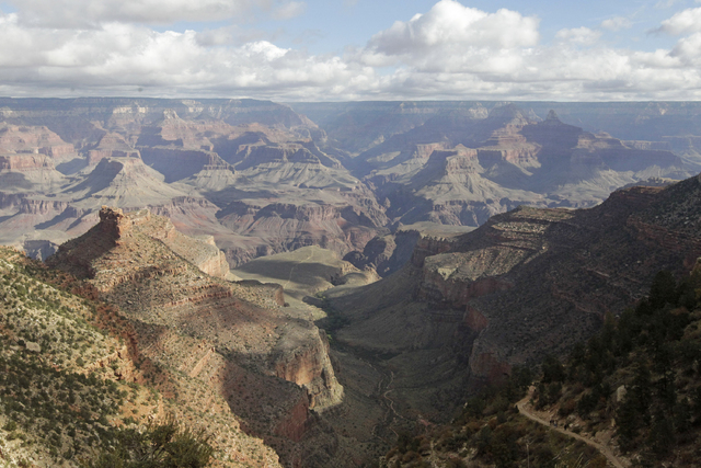 A view from the South Rim of the Grand Canyon National Park in Arizona. The National Park Service is taking steps to ban drones from 84 million acres of public lands and waterways, saying the unma ...