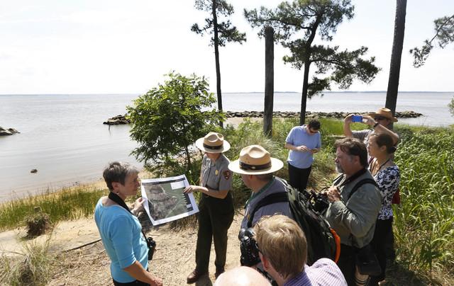 US Secretary of the Interior Sally Jewell, left, tours Jamestown Island in Jamestown, Va. (AP/Steve Helber)