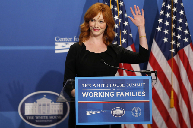 "Actress Christina Hendricks, known for her role in the television series ""Mad Men,"" speaks at The White House Summit on Working Families, Monday, June 23, 2014, in Washington. The gathering, organ ..."