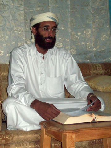 FILE - This October 2008 file photo shows Imam Anwar al-Awlaki in Yemen. A federal appeals court on Monday, June 23, 2014, released a previously secret memo that provided legal justification for u ...