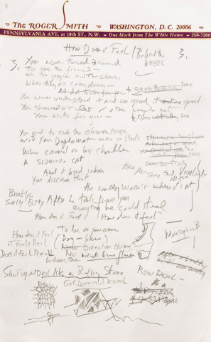 "This undated file photo provided by Sotheby's shows a working draft of Bob Dylan's ""Like a Rolling Stone,"" one of the most popular songs of all time. The draft, in Dylan's own hand, was sold for $ ..."