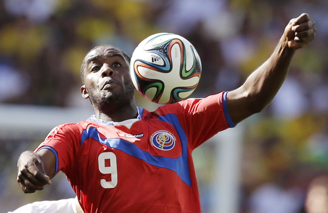 Costa Rica's Joel Campbell controls the ball during the group D World Cup soccer match between Costa Rica and England at the Mineirao Stadium in Belo Horizonte, Brazil, Tuesday, June 24, 2014. (AP ...